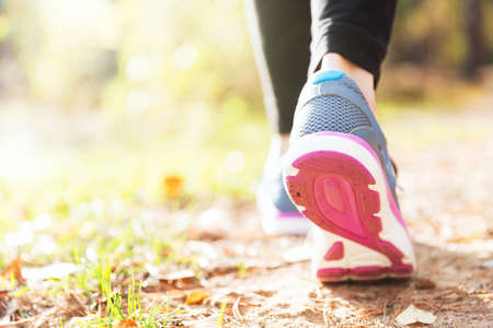 ginástica: pernas Mulher que funciona no por do sol da floresta