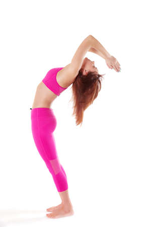 hasta: Woman practicing Hasta Uttanasana, Raised Arms Yoga Pose, Surva Namaskara. Front view and side view. Stock Photo