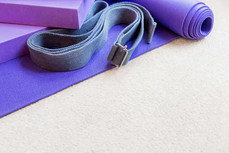props: Fitness yoga pilates equipment props on a carpet