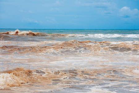 Dirty ocean water coast damaged nature Indonesian