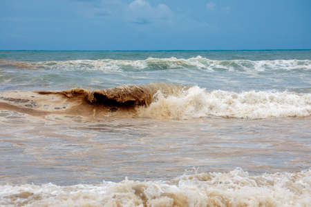 Dirty ocean water coast damaged nature Indonesian