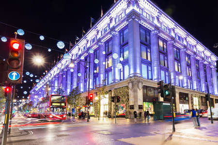 Oxford street shops Christmas illumination lights decorated New Year, England