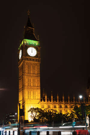 Popular tourist Big Ben and Houses of Parlament in night lights illumination in London, England, United Kingdom Stock Photo