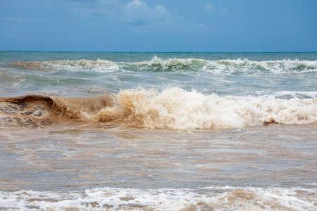 Dirty ocean water coast damaged nature, Indonesian
