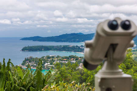 Kata Karon tropical beach viewpoint at Phuket island, Thailand Stock Photo
