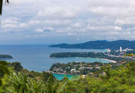 Kata Karon tropical beach viewpoint at Phuket island, Thailand Stock Photo