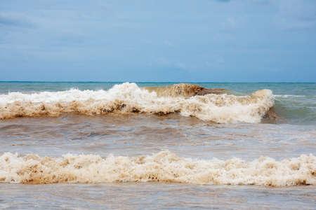 Dirty ocean water coast
