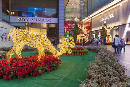 Malaysia, Kuala Lumpur - 2017 December 07: Pavilion shopping mall decorated for Christmas and New 2018 Year