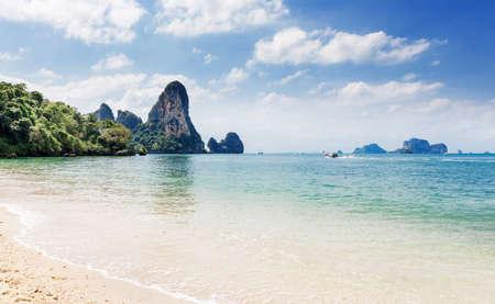 Popular travel tropical karst rocks perfect for climbing Tonsai beach, Krabi province, Thailand