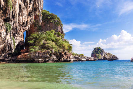 Popular travel tropical karst rocks perfect for climbing Phra Nang Cave Beach, Krabi province, Thailand