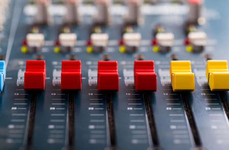 Music mixer console equipment to write and change sound Banque d'images