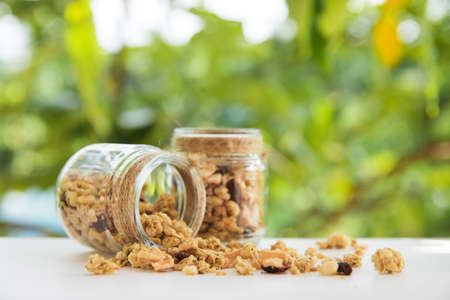 Fresh homemade tropical exotic granola muesli best diet breakfast