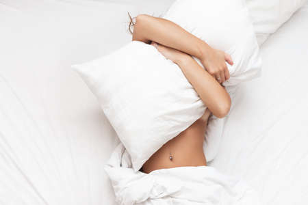 Woman in the bed dont want to wake up in the morning