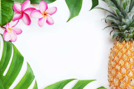 Tropical top view summer botanical concept  still life pineapple frame with monstera liana, vine, palm leaves and plumeria frangipani flower flat lay layout