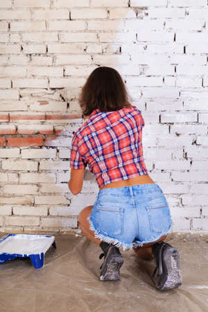 Young attractive woman paints white brick wall with paint brush Zdjęcie Seryjne - 124747255