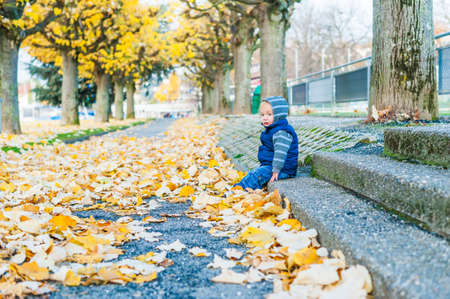 yelloow: Autumn portrait of a cute toddler boy Stock Photo