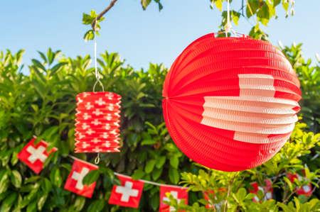 Swiss outdoor decoration Archivio Fotografico