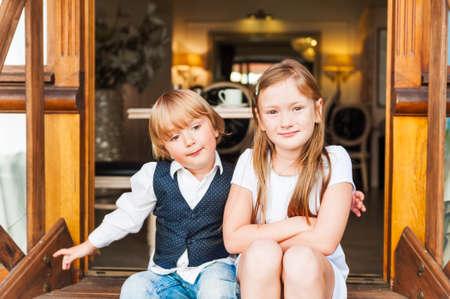 Portret van schattige kinderen Stockfoto
