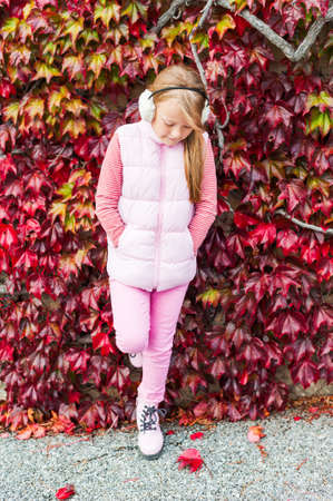 7 8 years: Autumn portrait of a cute little girl