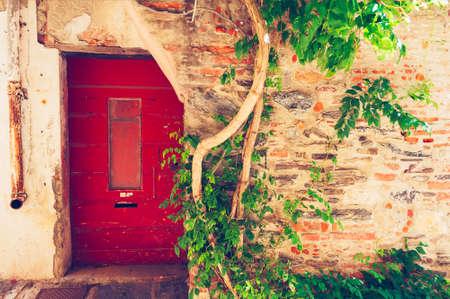 row house: Old house facade, Provence, France Stock Photo