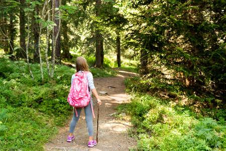 Weinig wandelaar meisje in het bos. Foto van Champex-Lac, Wallis, Zwitserse Alpen, Achteraanzicht Stockfoto