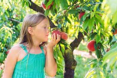Meisje het spelen in de perziktuin op een aardige zonnige dag