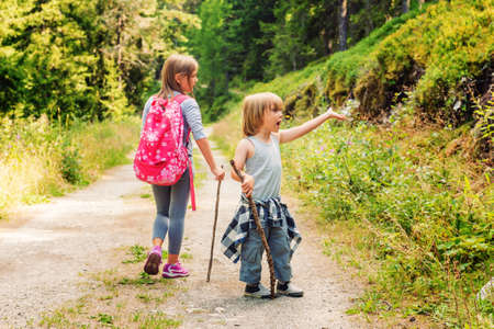 hiking stick: Two cute kids hiking in forest Stock Photo