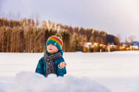 very cold: Adorable little boy having fun outdoors on a very cold day, playing snow balls, wearing warm blue waterproof jacket, colorful hat and scarf Stock Photo