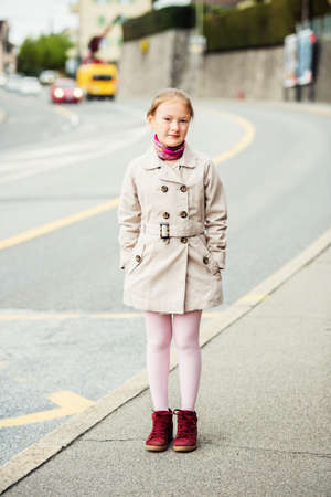 Outdoor portrait of 8 year old girl Stock Photo