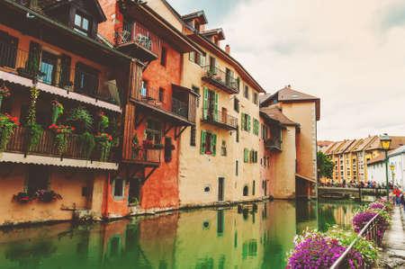alpes: Canal in Annecy, Haute Savoie department in the Auvergne Rhone Alpes region