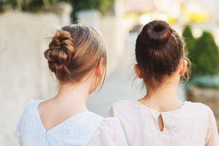 Back view of two little girls with beautiful hairpiece style