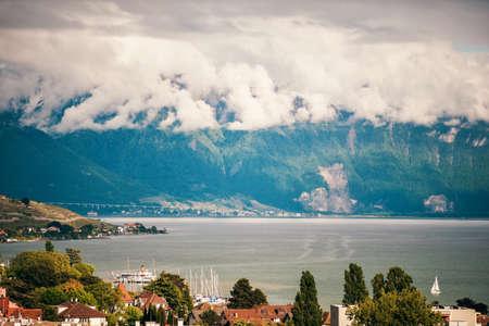 Swiss Lake geneva on a cloudy day Stock Photo