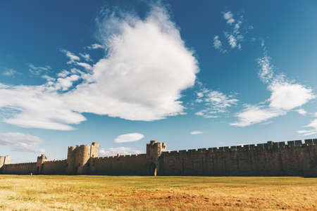 Famous fortification wall surrounding Aigues-Mortes city, Camargue, France