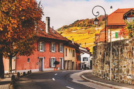 montreux: Small streets of swiss medieval village Saint-Saphorin, Lavaux vineyards