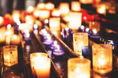 Candles in the Church of the Saintes Maries de la Mer. Selective focus