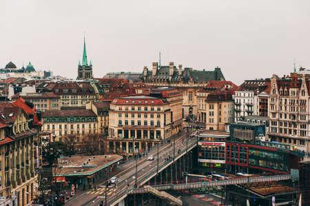 bel air: Lausanne, Switzerland - March 13, 2013: View of Lausanne downtown (Lausanne-Flon)