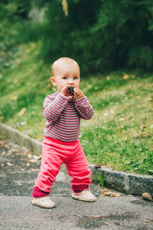 Adorable baby girl of 9-12 months old playing with pine cone outside