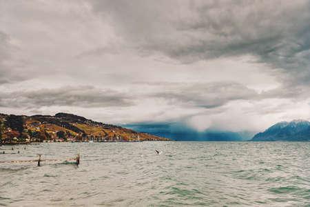 Coming storm over lake Geneva, Lausanne area, canton of Vaud, Switzerland