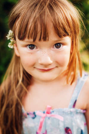 Close up portrait of adorable 4 year old kid girl