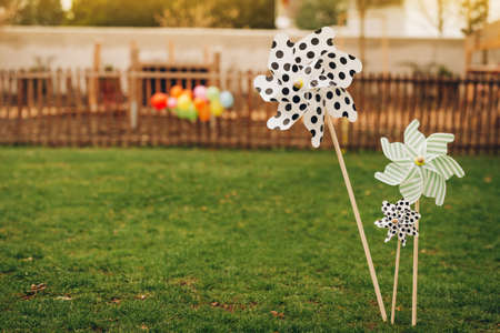 Beautiful spring park playground decorated for Easter egg hunt or birthday party