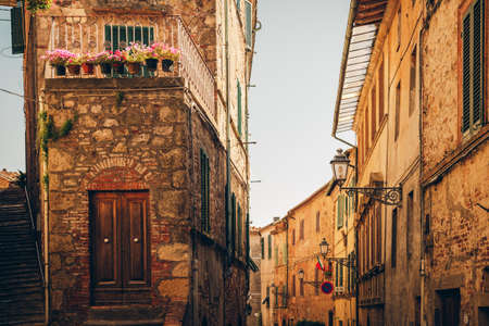 Picturesque view of small old street, imahe taken in Tuscany, Italy