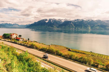 Motorway in Switzerland road with stunning view next to lake Geneva