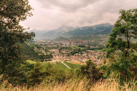 Beautiful summer landscape of alpine valley in Sion, canton of Valais, Switzerland Foto de archivo