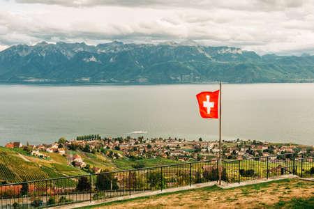 Amazing summer landscape of Lavaux vineyards, swiss riviera, Lausanne area, canton of Vaud, Switzerland