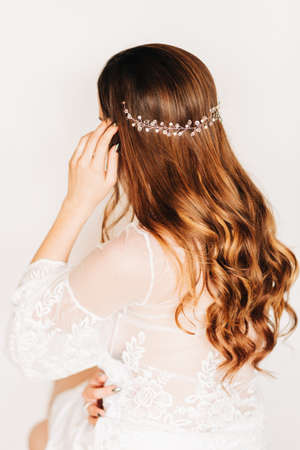 Trendy bridal hairstyle with beautiful wedding accessoires Banco de Imagens