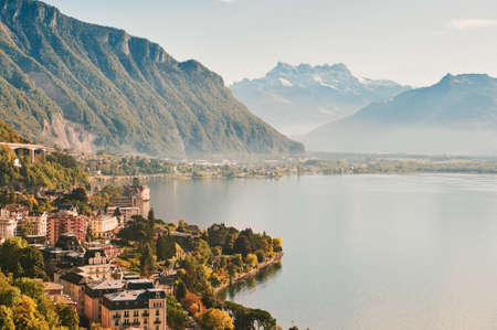 Summer landscape of Montreux city, Switzerland, canton of Vaud, aerial view