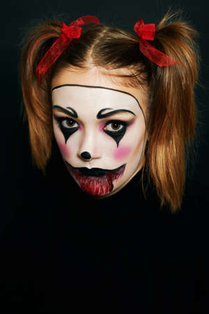 Close up portrait of young teenage girl with Halloween makeup Archivio Fotografico