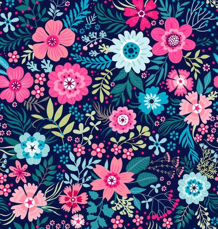 かわいい花柄。  イラスト・ベクター素材