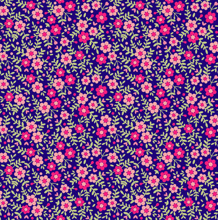 Floral pattern. Pretty flowers on dark blue backgroung. Printing with Small-scale pink flowers. Ditsy print. Seamless texture. Spring bouquet.  イラスト・ベクター素材