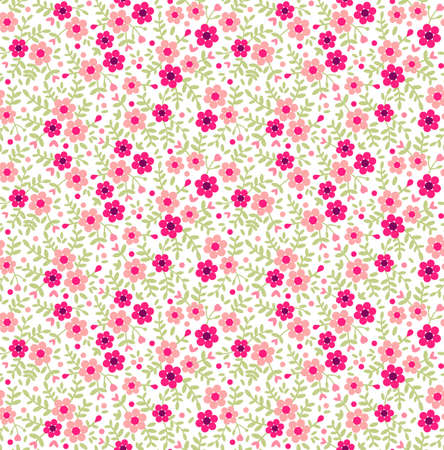 Cute seamless pattern in small flower. Small pink flowers. White background. Ditsy floral background. The elegant the template for fashion prints. Illustration